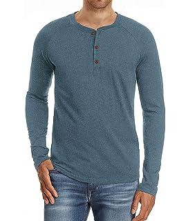 Camiseta de Manga Larga para Hombre Regular Camisa Ocio Color Sólido La Moda Blusa Superior Retro Henley Camisas 2019 Nuevo 10 Colores: Amazon.es: Ropa y accesorios