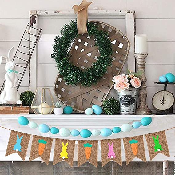 Happy Easter Carrot Bunny Banner Hanging Garland Party Decoration LL