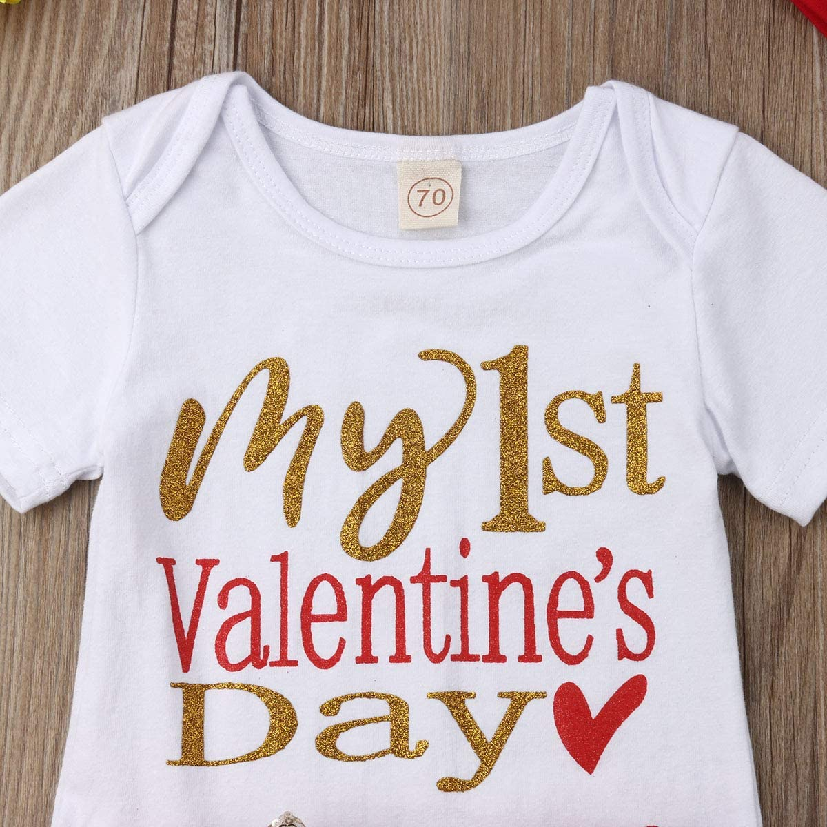 Newborn Infant Baby Girl My First Birthday Valentine/'s Day st.Patricks Day Romper top Tutu Dress Headband Outfit