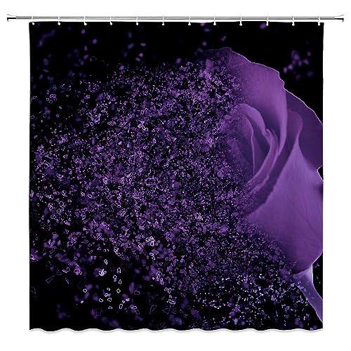 AMFD Purple Rose Shower Curtain Fantasy Dream Flower Magic Glamorous Black Bathroom Decor Polyester Fabric Water
