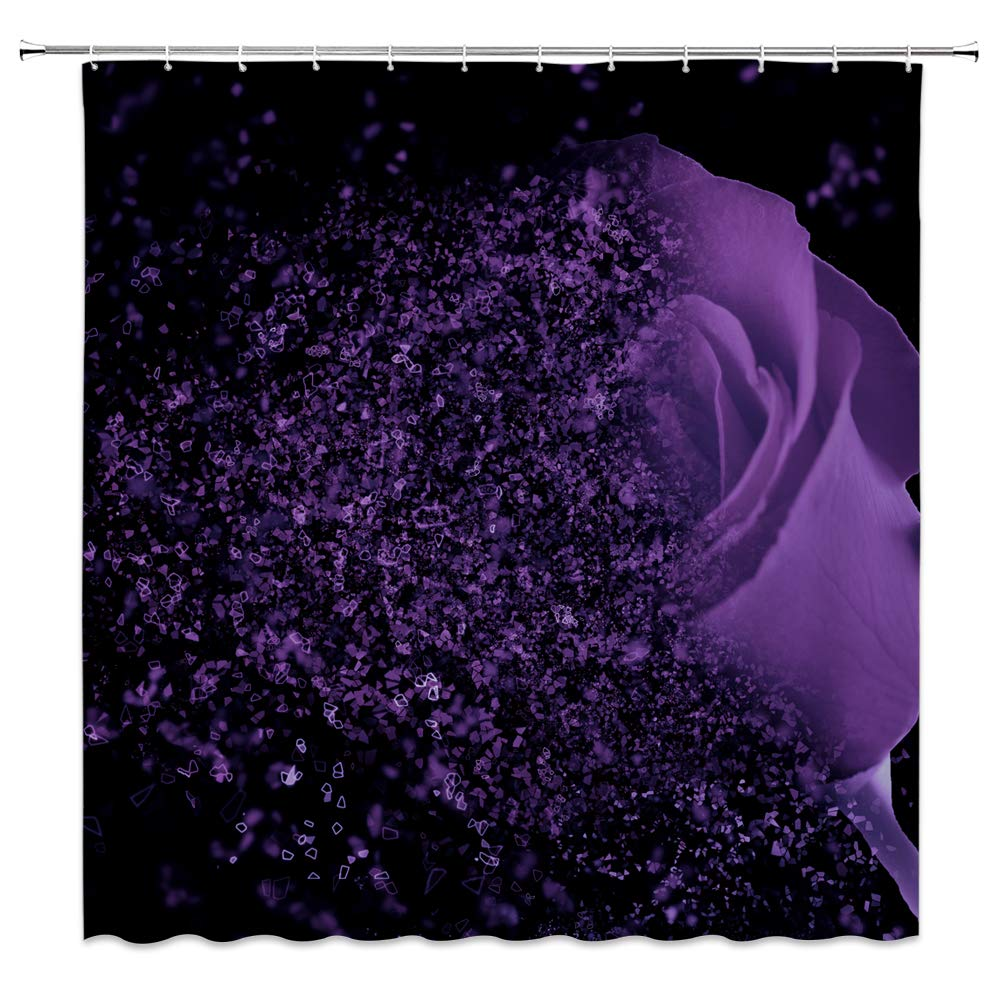 Details About AMFD Purple Rose Shower Curtain Fantasy Dream Flower Magic Glamorous Black