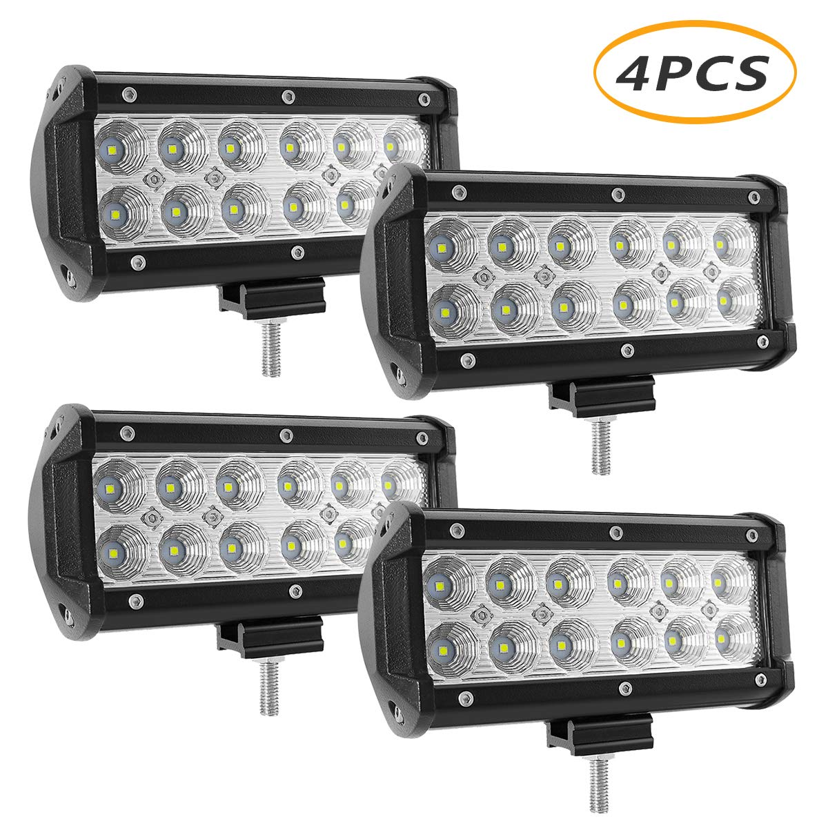 LED Light Bar 4'' 48W, YEEGO Spot LED Pods Driving Light Off Road Lamp Roof Bar Bumper for Jeep, SUV Truck, Hunters, 2 Years Warranty (2Pack-48W Flood Light)