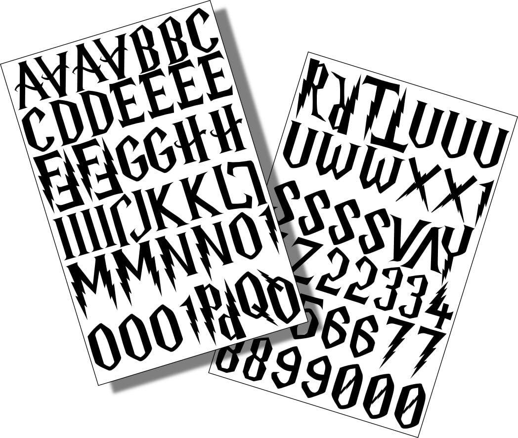 Harry Potter EasyTime UK TM, letras/25 mm vinilo negro pegajoso letras y números, AUTO-adhesivo, inmovilización, corte-forma, letras impermeable signos, vehículos, barcos, afiches, diversión y proyectos escolares: Amazon.es: Oficina y papelería