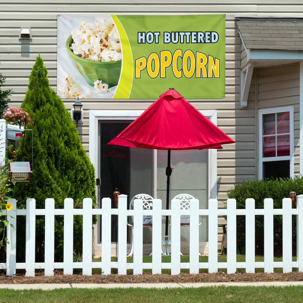 8 Grommets One Banner 48inx96in Vinyl Banner Sign Hot Buttered Popcorn #1 Style C Corn Marketing Advertising Green Multiple Sizes Available