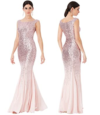 60d9be4ec923 Stephanie Pratt Goddiva Pink Sequin Chiffon Maxi Dress Prom Bridesmaid (8)