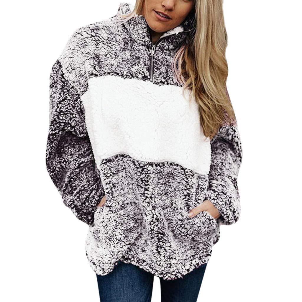 DRAGONHOO Sweatshirt for Women Ladies Artificial Wool T-Shirt Blouses Tops Sweatshirt hoodie by DRAGONHOO