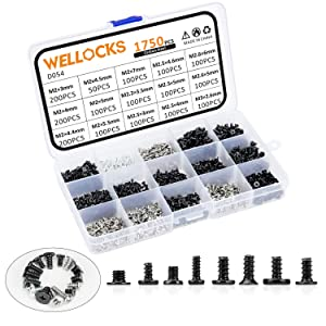 WELLOCKS Mini Screw 1750 PCS M2 M2.2 M2.5 M2.6 M3 High Precision Self-Tapping Screws Micro Screws, Tiny Electronic Screws Assortment Kit Carbon Steel for Mouse and Keyboard Repair (D054)