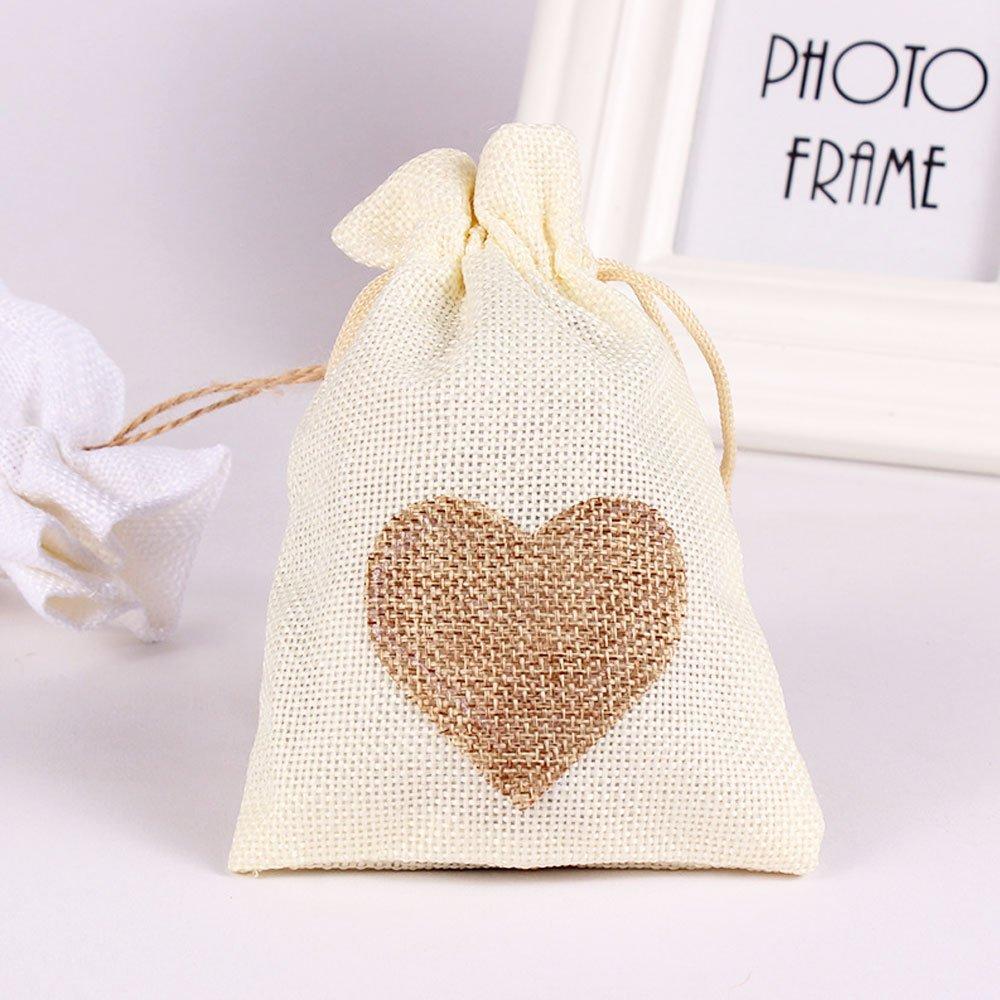 Couleur naturelle-Coeur blanc CozofLuv sac cadeau de bonbons 25 pcs jute pochette bapt/ême sac de mariage lumi/ères de no/ël pour lavande bonbons cadeaux cadeau sac pour farce bijoux sac petit