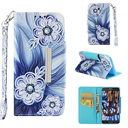 Case for Galaxy J7 (2017)/J720,3D Printing PU Leather Kickstand Card Slots Wallet Case with Wrist Strap & Magnetic Closure Inner Soft Bumper ...