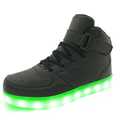 a9389a7e6331 APTESOL Kids Youth LED Light Up Sneakers Boys Girls High Tops Cute Cool  Flashing Shoes Halloween