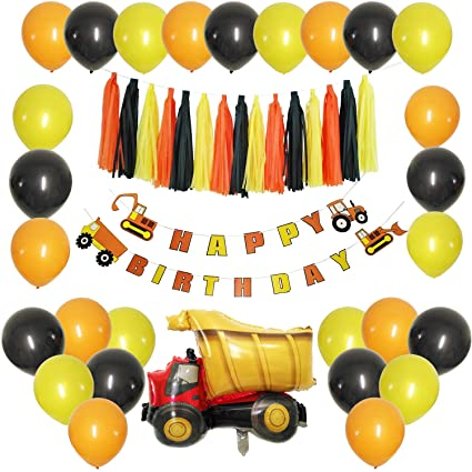 JAYKIDS Construction Birthday Party Supplies For 1st 2 3 4 5 Years Old Boys