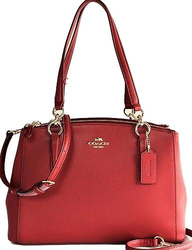 82ffd5c681625 COACH Small Christie Crossgrain Leather Carryall Handbag Purse F36637-True  Red