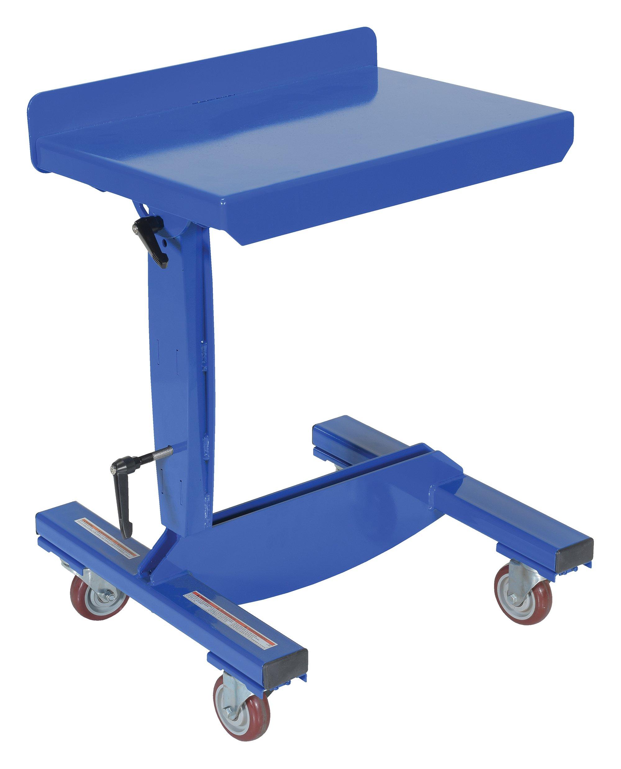 Vestil WPT-1624 Mobile Tilting Work Table, 200 lb. Capacity, 16'' Width x 24'' Length, 31-1/2'' to 42'' Height, Blue
