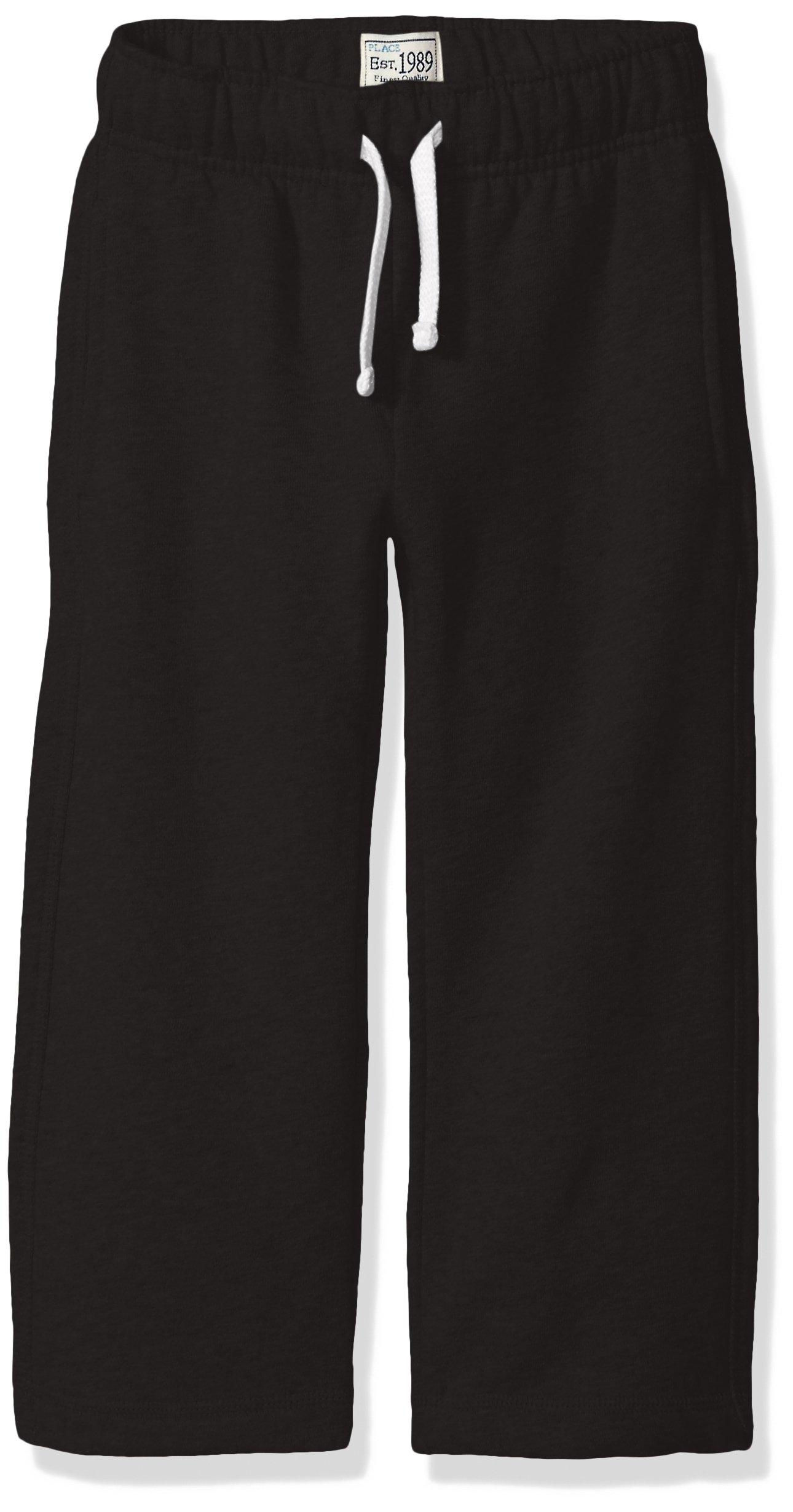 The Children's Place Baby Toddler Boys' Gym Uniform Fleece Pant, Black, 4T