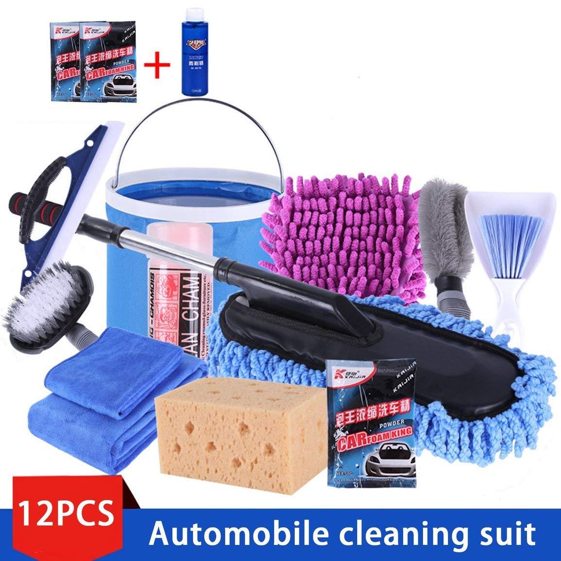 12 Tool Pack Portable Set Car Wash Car Wash Combinaison Mé nage Serviette Voiture Mop poussiè re Brosse de Nettoyage de Voiture Produits de Voiture Fantasyworld