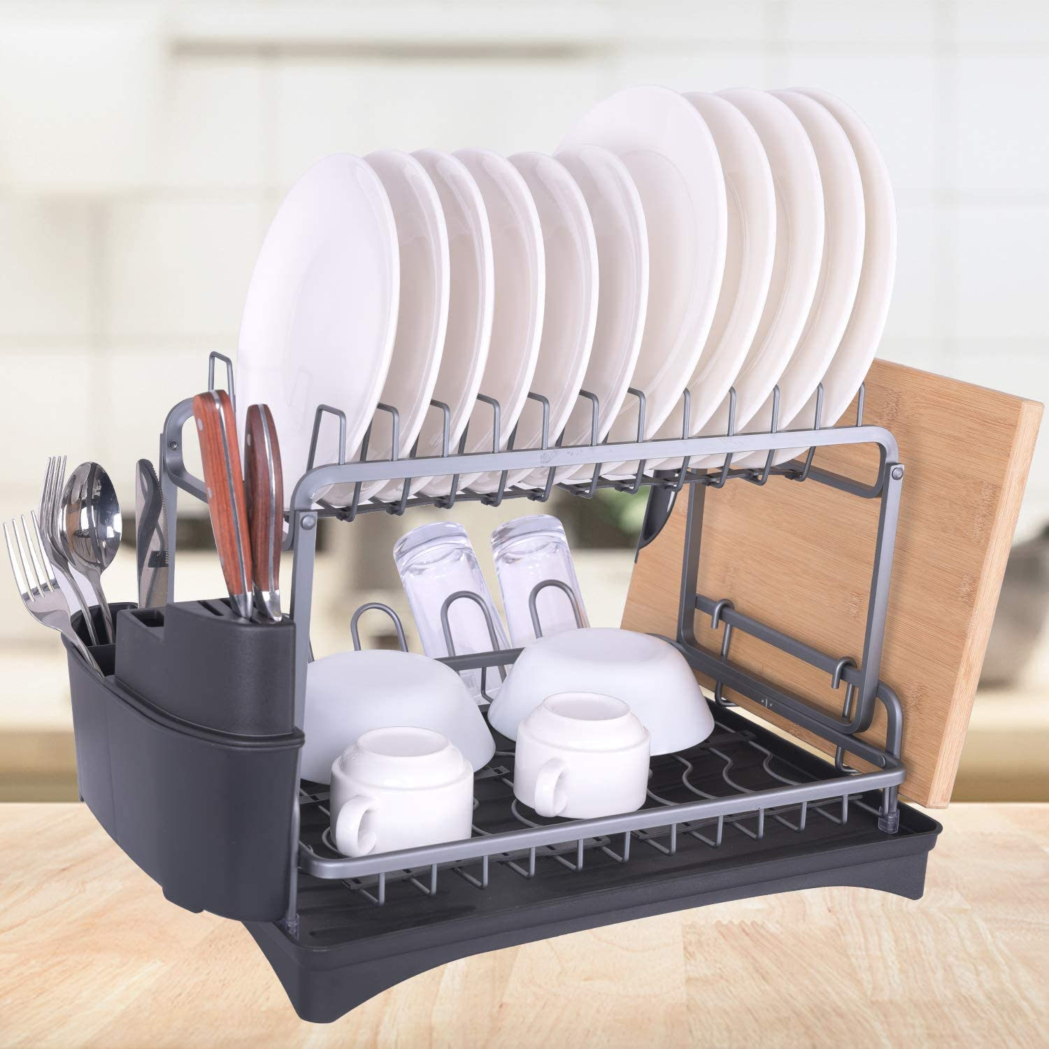 Aluminum Dish Drying Rack, Dailyart 2 Tier Dish Rack Large Capacity, Dish Rack and Drainboard Set for Kitchen Counter, with Removal Top Shelf & Utensil Holder, Rust Proof Modern Design, Gray