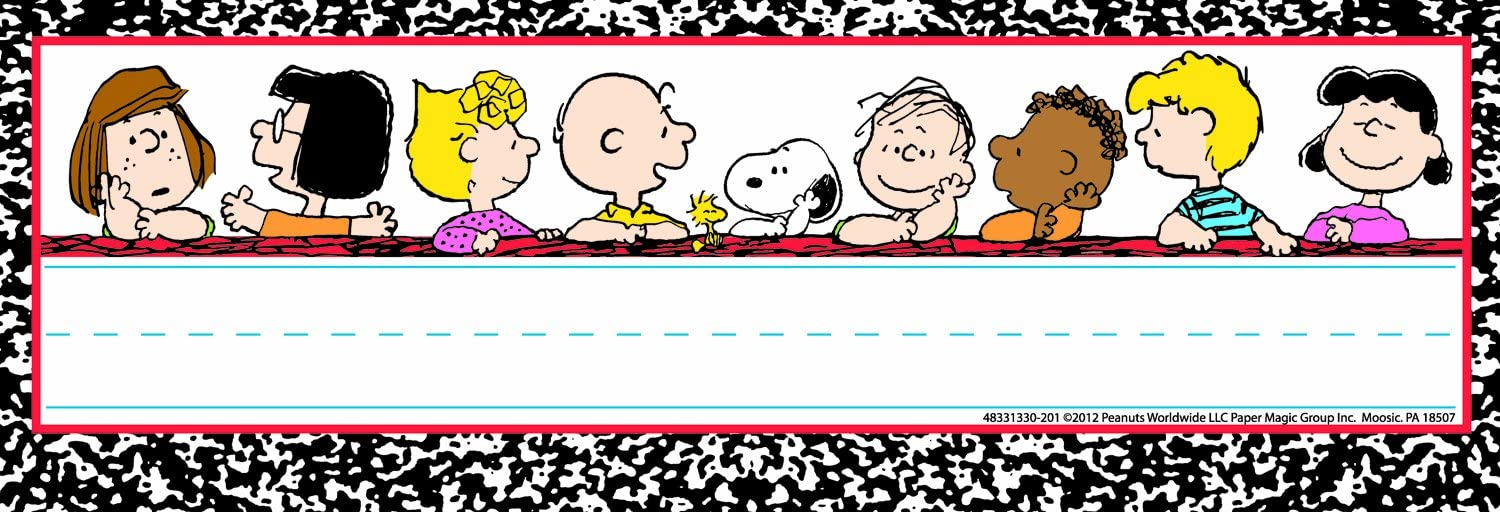 Eureka Peanuts Classic Characters Name Plates, Includes 36 tented Name Plates, Measuring 9.62