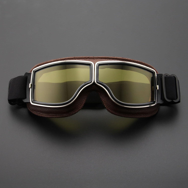 Motorcycle Goggles Blinkers Retro Helmet Aviator Pilot Curiser for Motocross Harley Brown Len