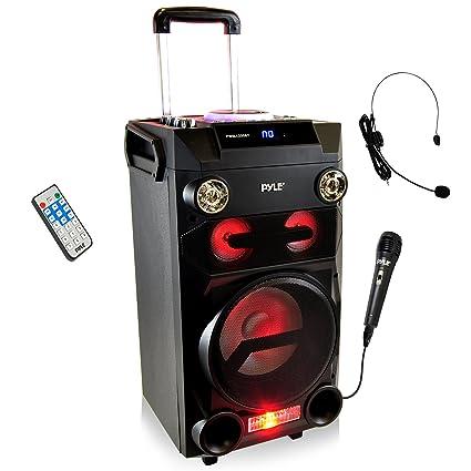 amazon com pyle outdoor portable wireless bluetooth karaoke pa loud rh amazon com
