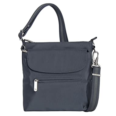 Travelon Anti-Theft Classic Mini Shoulder Bag (One Size, GREY w Leaf Print Lining)