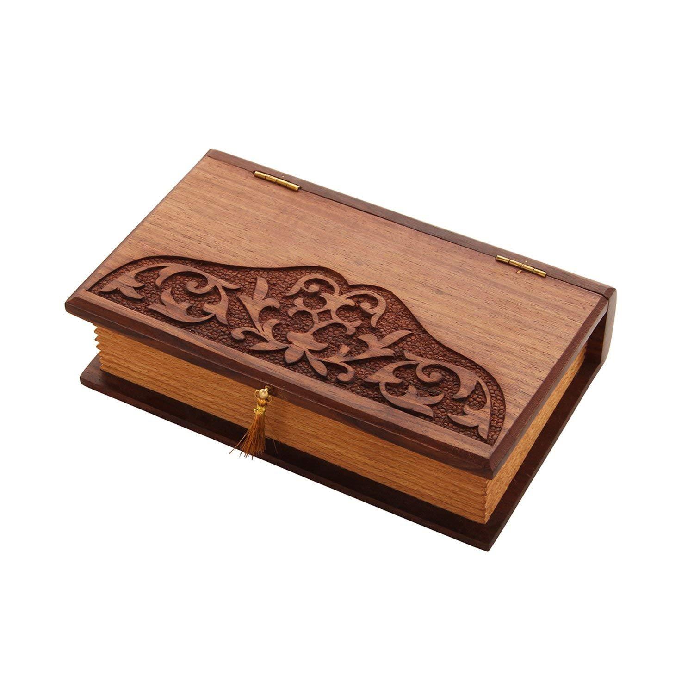 storeindya, Handmade Wooden Jewelry Multi Purpose Box - Keepsake Box - Storage Organizer Multipurpose Box - Treasure Chest - Trinket Holder for Women Men Girls (Art with Hinge Collection)