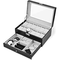 Juns Watch Box, 12 Slots PU Leather Case Organizer with Jewelry Drawer for Storage and Display