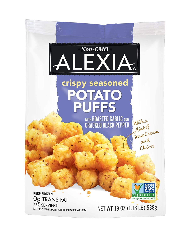 Alexia Crispy Seasoned Potato Puffs Roasted Garlic and Cracked Black Pepper, 19 oz (Frozen)