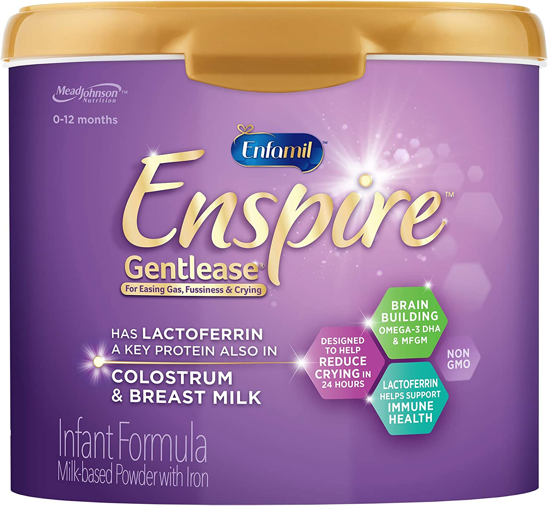 Enfamil Enspire Gentlease Baby Formula Milk Powder, 20 Ounce (Pack of 1)- MFGM, Lactoferrin (Found in Colostrum), Omega 3 DHA, Iron, Probiotics, Immune Support