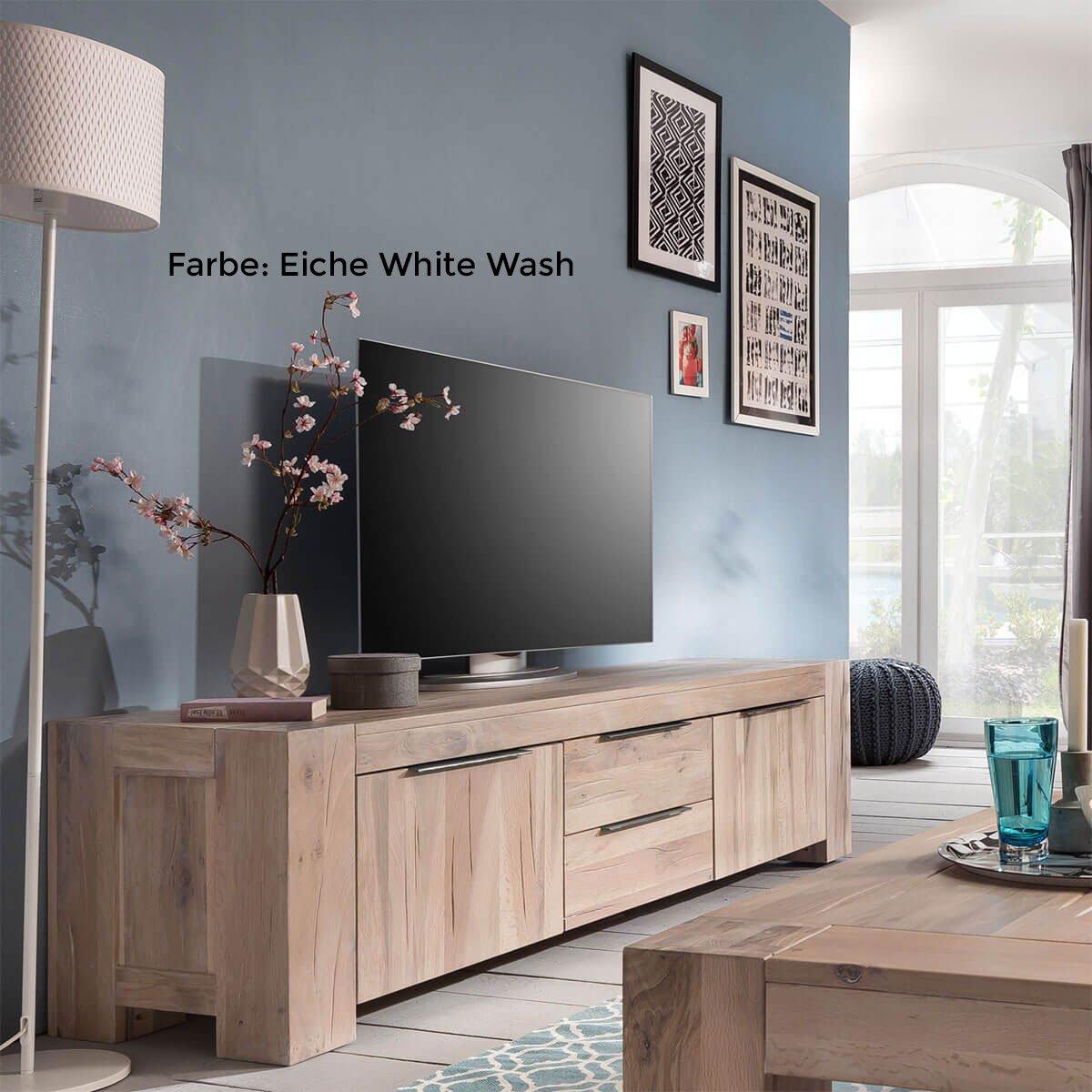M/ÖBEL IDEAL TV Lowboard Fernsehschrank Unterschrank Granby 190 cm Massivholz Holz Eiche massiv Balkeneiche Natural Breite 190 cm Tiefe 48 cm H/öhe 50 cm