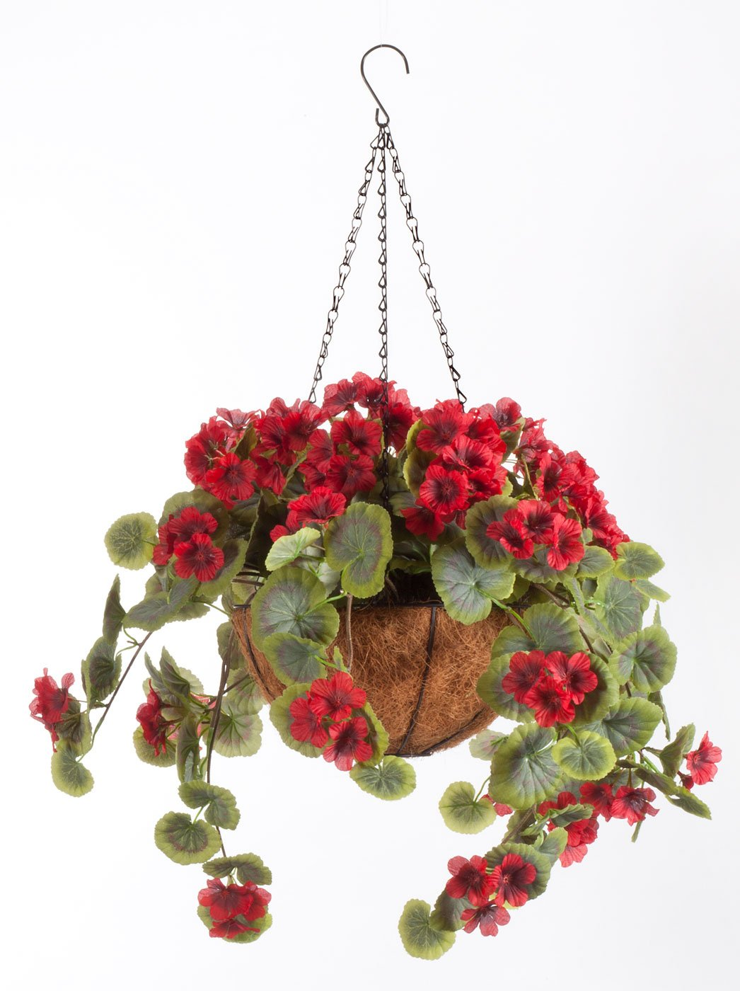 OakRidge Miles Kimball Fully Assembled Artificial Geranium Hanging Basket, 10'' Diameter and 18'' Chain - Red Polyester/Plastic Flowers in Metal and Coco Fiber Liner Basket for Indoor/Outdoor Use