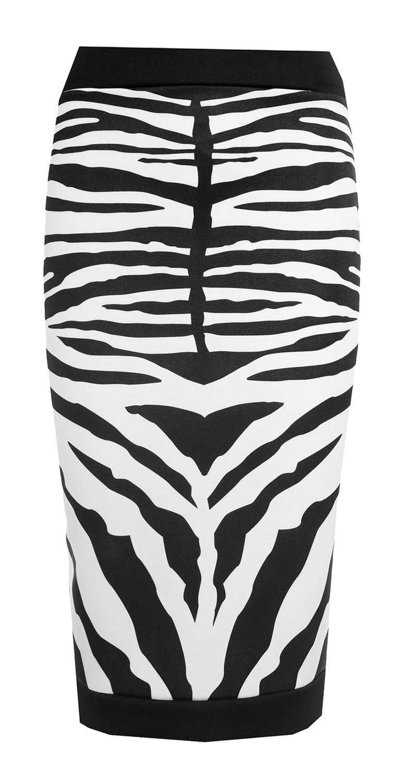 Forever Womens Celebrity Inspired Zebra Print Midi Pencil Skirt (10, Black)