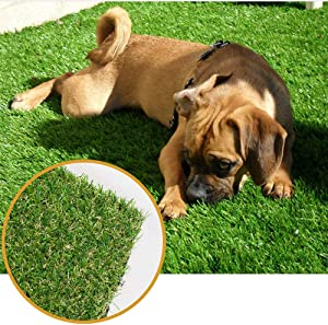 ALTRUISTIC Thick Realistic Artificial Grass Mat Customized Sizes, 6ft x 10ft Synthetic Fake Astro Turf Indoor Outdoor Garden Lawn Landscape, Faux Grass Rug with Drainage Holes
