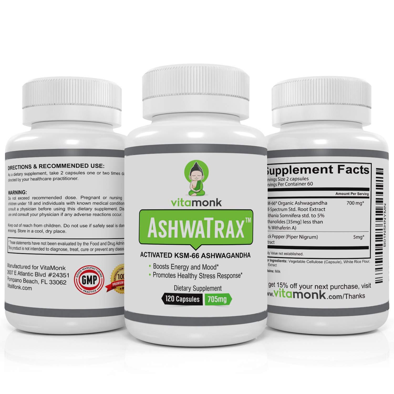 AshwaTrax™ Bio-Enhanced KSM-66 Ashwagandha Extract - by VitaMonk - Enhanced  with BioPerine for