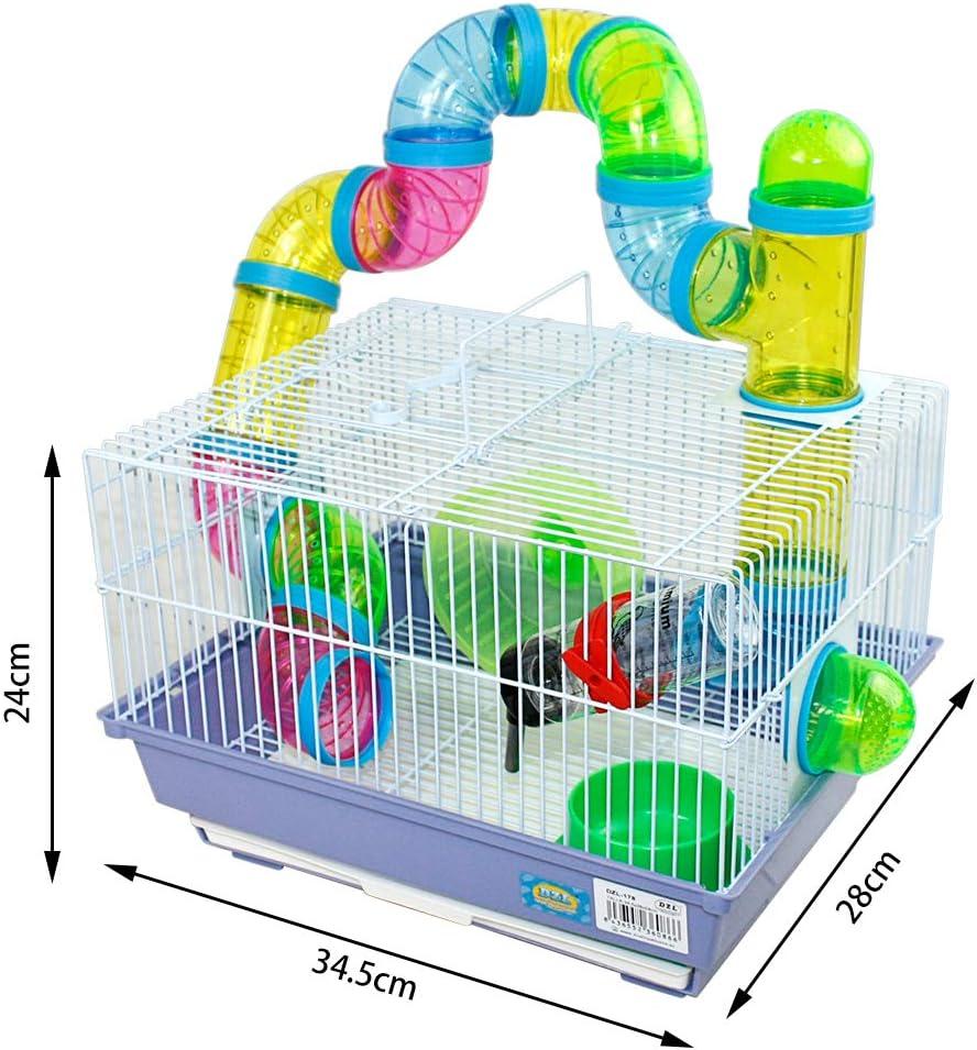 Jaula para hamster 34.5*28*24cm con tubos colores