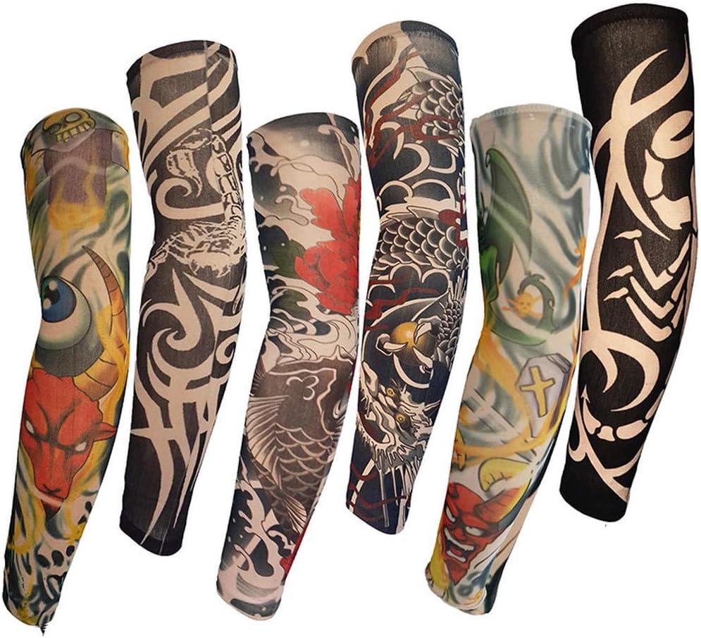 Mzqaxq Tattoo Sleeve 6 Paquetes Cool Tattoo Manga Brazo Manguito ...