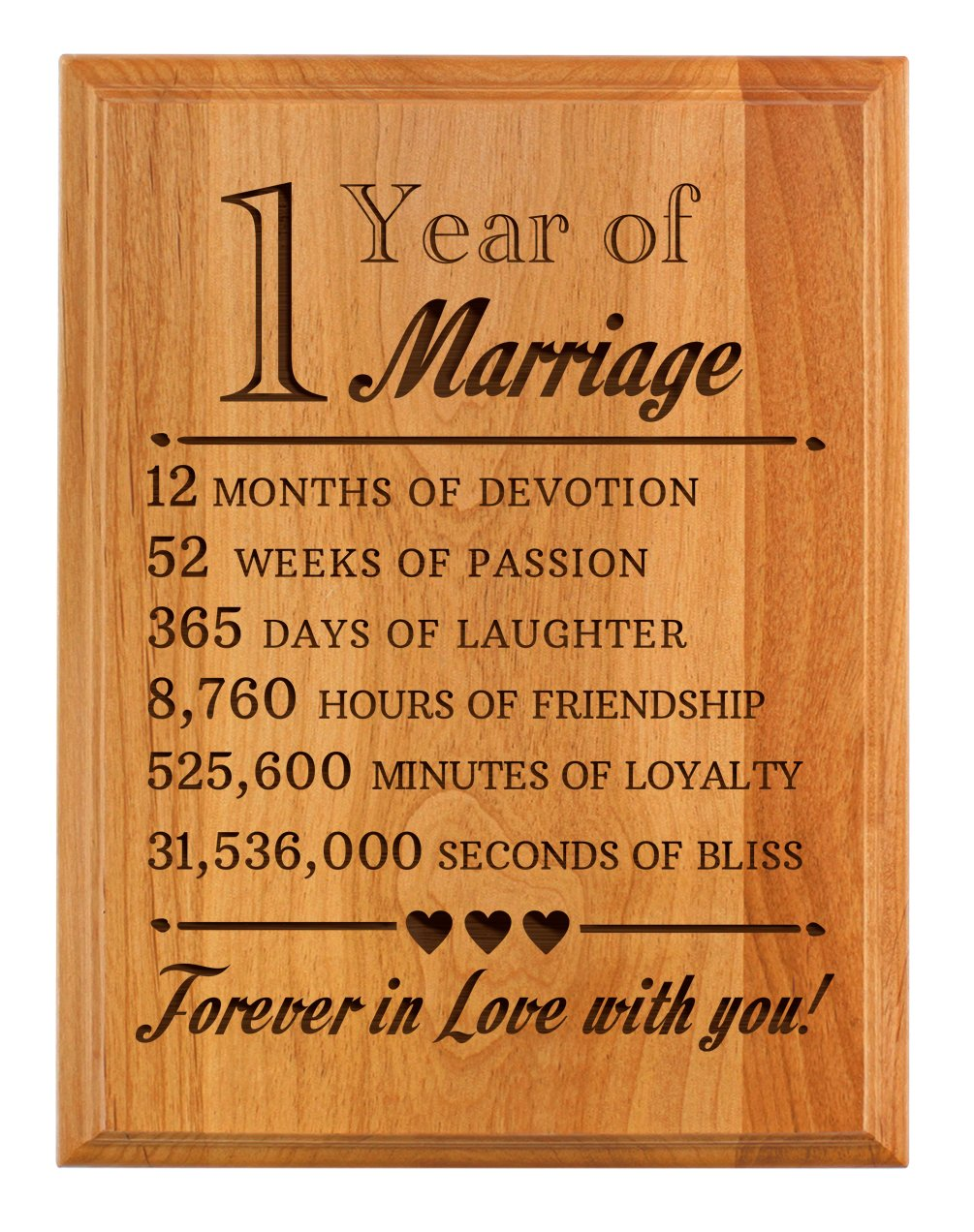 1st Wedding Anniversary Gifts Forever In Love With You 1st Anniversary Gifts 7x9 Oak Wood Engraved Plaque Wood Amazon In Home Kitchen