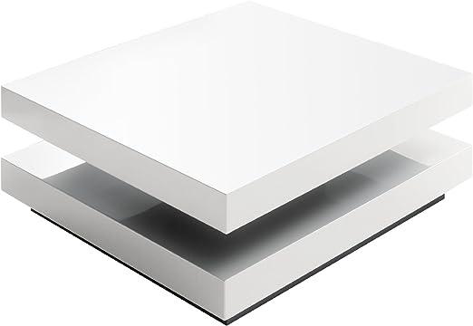Couchtisch (D:80 H:30 ) drehbar weiß Tisch rund von Möbel
