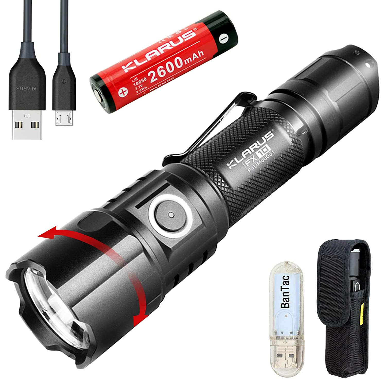 Klarus FX10 EDC Taschenlampe Einstellbarer Fokus 1000 Lumen CREE XP-L HI V3 LED USB Wiederaufladbar Taktisch Taschenlampe, Twist für Spot oder Flutlicht, mit 18650 Akku+ BanTac USB Lampe