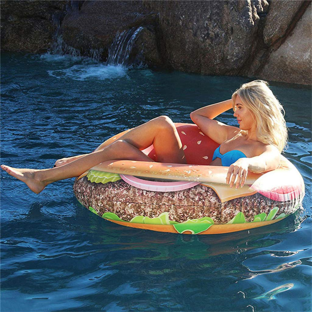 Costrov Giant Water Inflatable Hamburger Swimming Ring Pool Float, Outdoor Swimming Pool Floatie Float Lounge Toy Bed for Adults, Kids Photo Props120cm