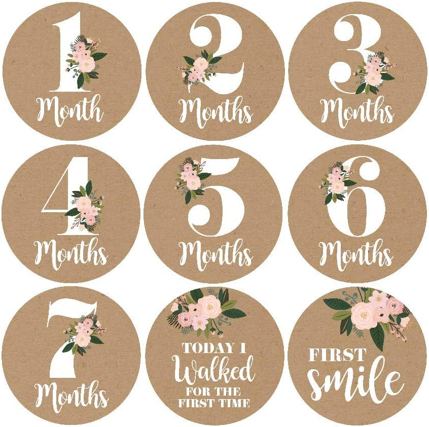 16 Rustic Floral Baby Girl Milestone Stickers, 12 Monthly Photo Picture Props for Infant Onesie, 1st Year Belly Decals, Scrapbook Memory Registry Gift, Best Shower Basket Present, Flower Birth Months