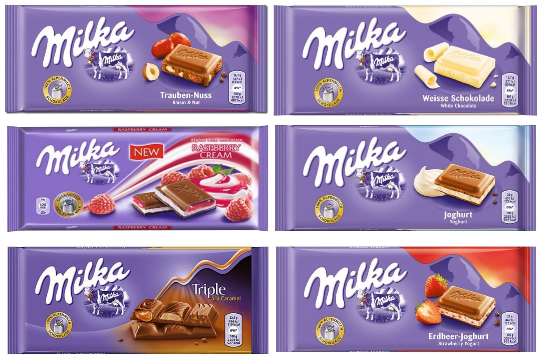 Milka Assorted Chocolates 100g Variety Pack Alpine, Oreo, Raspberry, Bubbly, Happy Cow, Tuc (6 Bars)