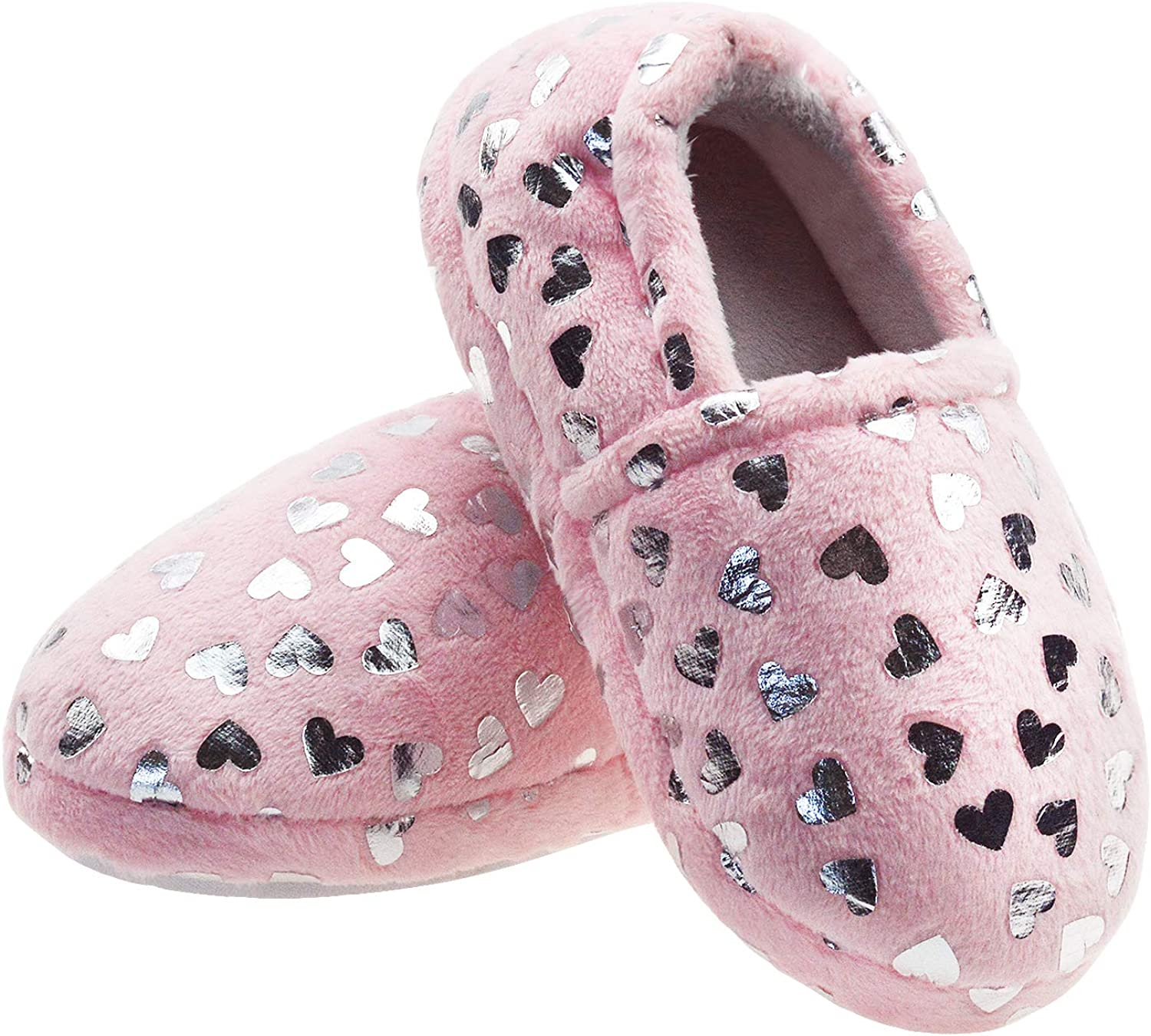 LULEX Girls Cute Fleece Heart Slippers Warm Household Anti-Slip Indoor Home Slippers