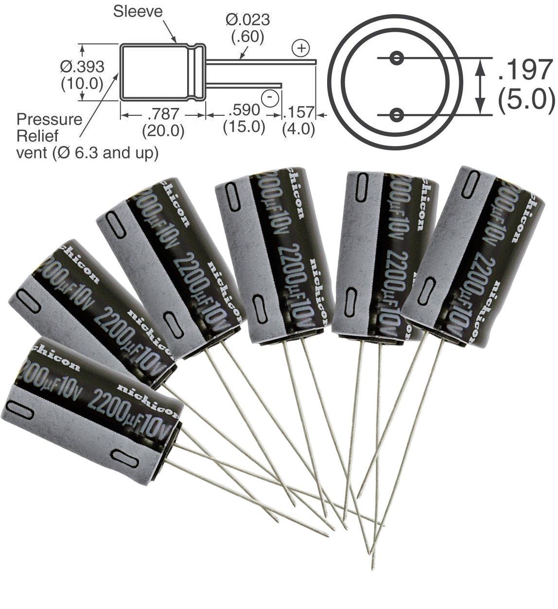 Condensador electrol/ítico radial de aluminio con condensador electrol/ítico de 50 V 1uF-2200uF de 15 unidades
