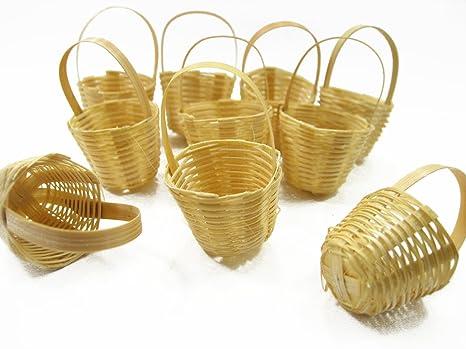2 Picnic Wicker Round Baskets Dollhouse Miniatures Supply Deco
