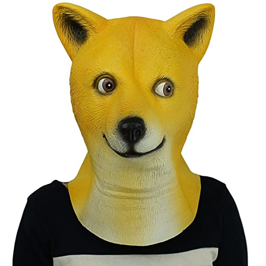 6afa670f84f Novelty Latex Rubber Creepy Funny Shiba inu Dog Animal Head Mask Halloween  Party Costume Decorations