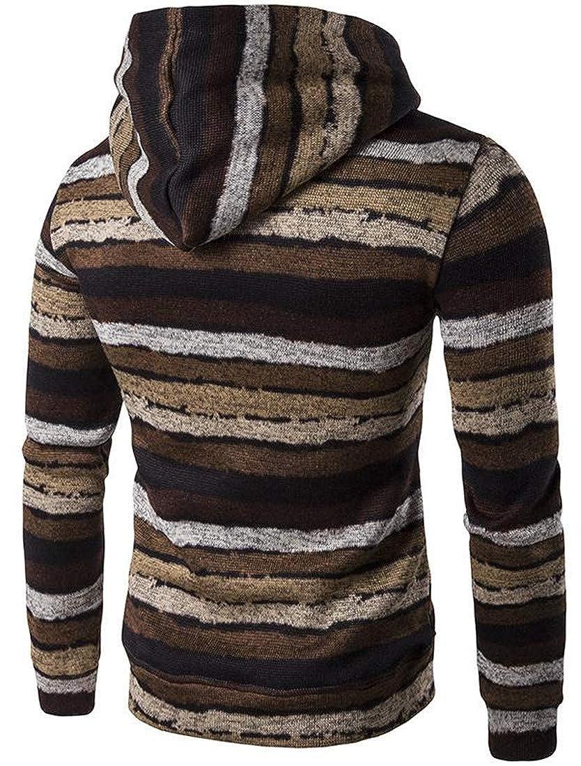 Cromoncent Mens Color Block Stripe Pocket Pullover Hooded Sweatshirt