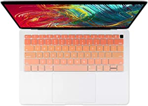 Batianda Gradient Color Keyboard Cover for New 2019 2018 MacBook Air 13 inch (with Touch ID Retina Display) Model:A1932 Ultra Thin Silicone Keyboard Protector Skin (Orange)