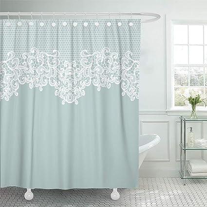 Amazon Emvency Shower Curtain Blue Border Vintage Lace White On