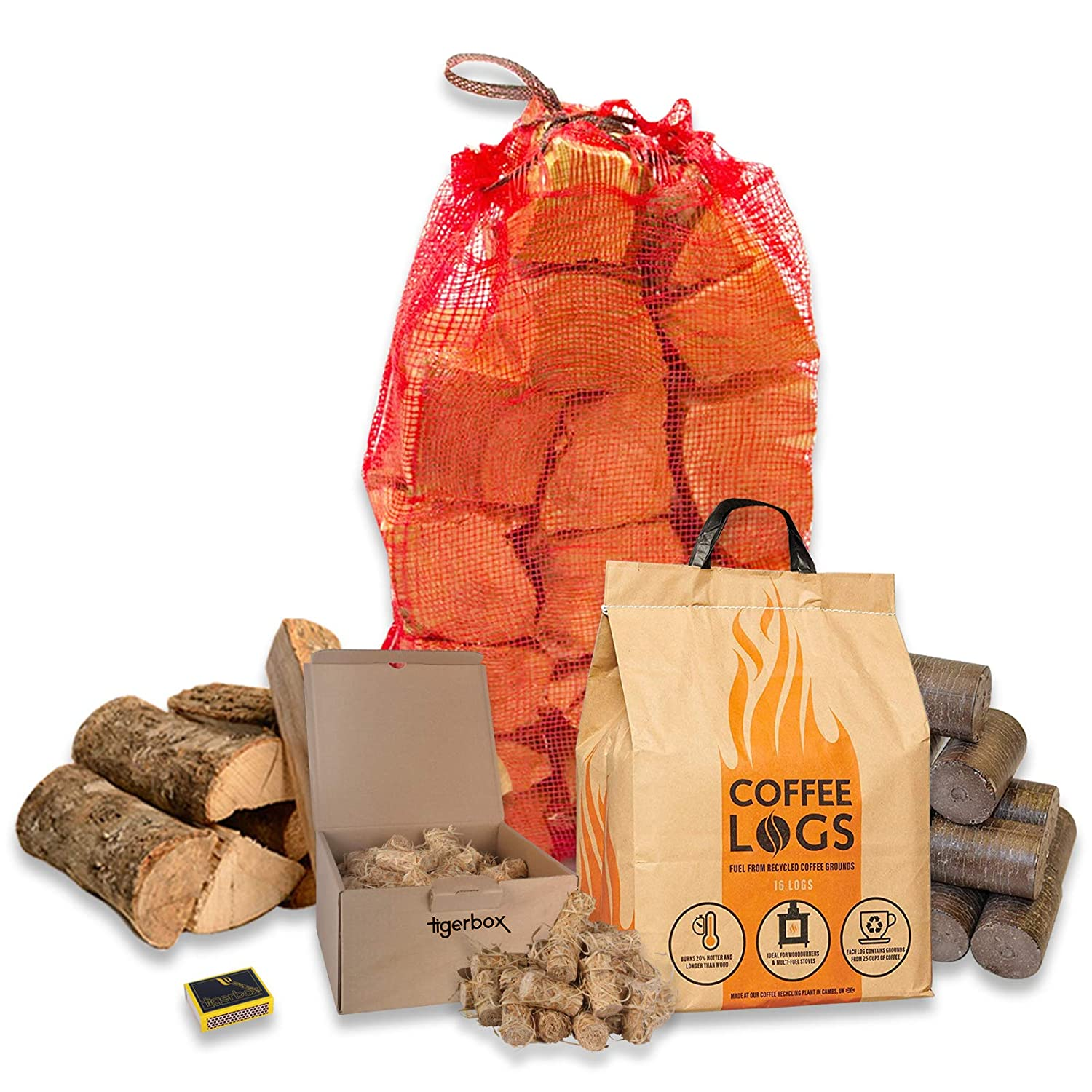 16 Coffee Logs Carbon Neutral Extra Hot Solid Fuel, 15KG of Kiln Dried Hard Wood, Natural Wood Wool Eco Firelighters & Tigerbox Safety Matches.