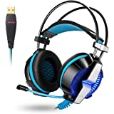 ACEPHA Wired PC Gaming Headset Noise Canceling, 7.1 Channel Virtual USB Surround Stereo Headphones with Mic, Soft Memory Earmuffs Over-Ear, Multifunctional Control, Blue Breathing LED Light-Black